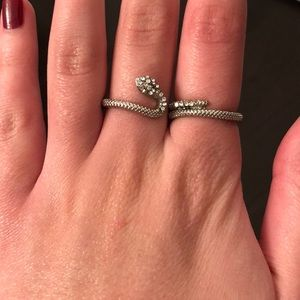 Jewelry - FREE W PURCHASE Silver Snake Double Ring